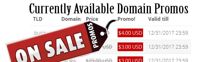Current promos on domain names